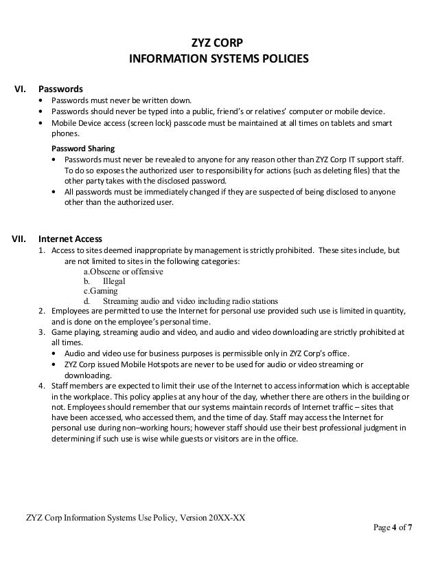 Computer Use Policy Template Sample IT Policy