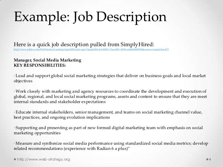 Social Media Marketing Job Description. Digital Social Media
