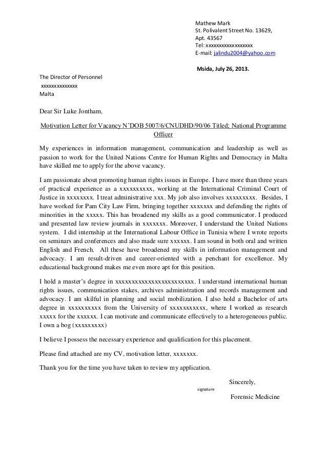 resume motivation letter