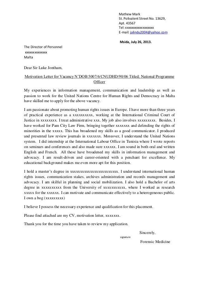 english motivation letter Sample job motivation letter