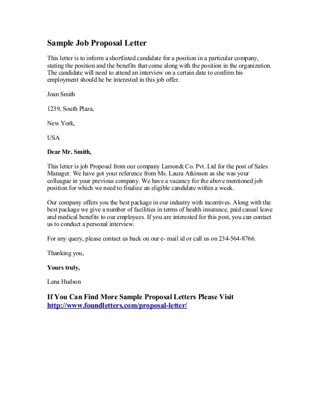 sample email cover letter for business proposal - sample job proposal letter