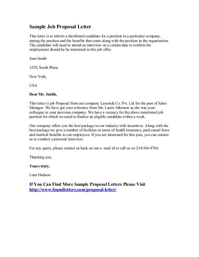Sample Job Proposal Letter This Letter Is To Inform A Shortlisted Candidate  For A Position In  Example Proposal Letter