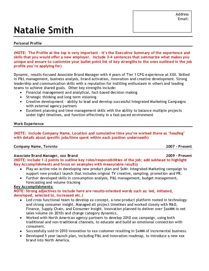 Sample Brand Marketing Resume