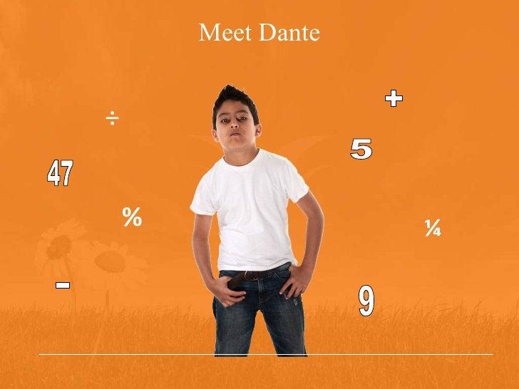 Meet Dante + ¼ - ÷ % 5 9 47