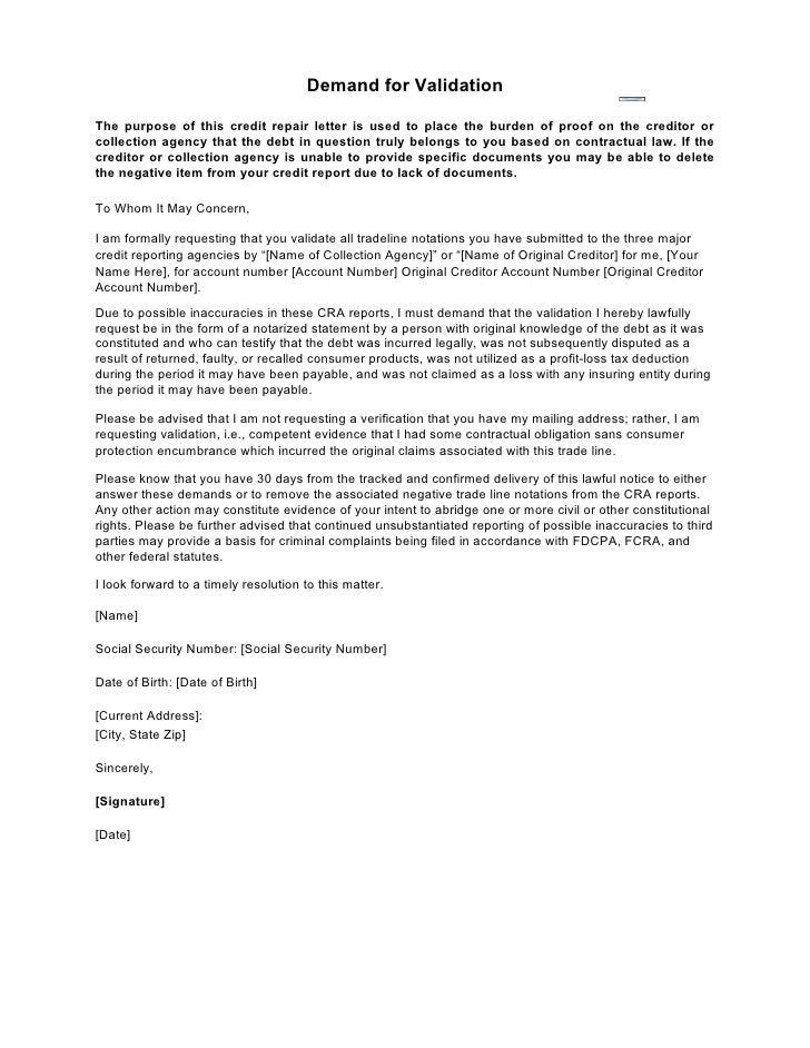 Sample letter demand for validation