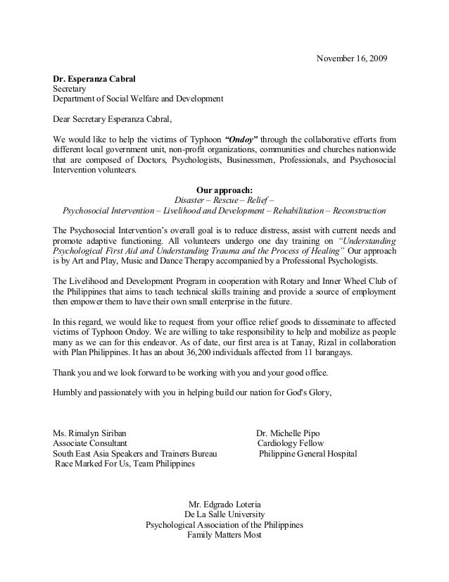 Sample letter of request to dswd altavistaventures Images