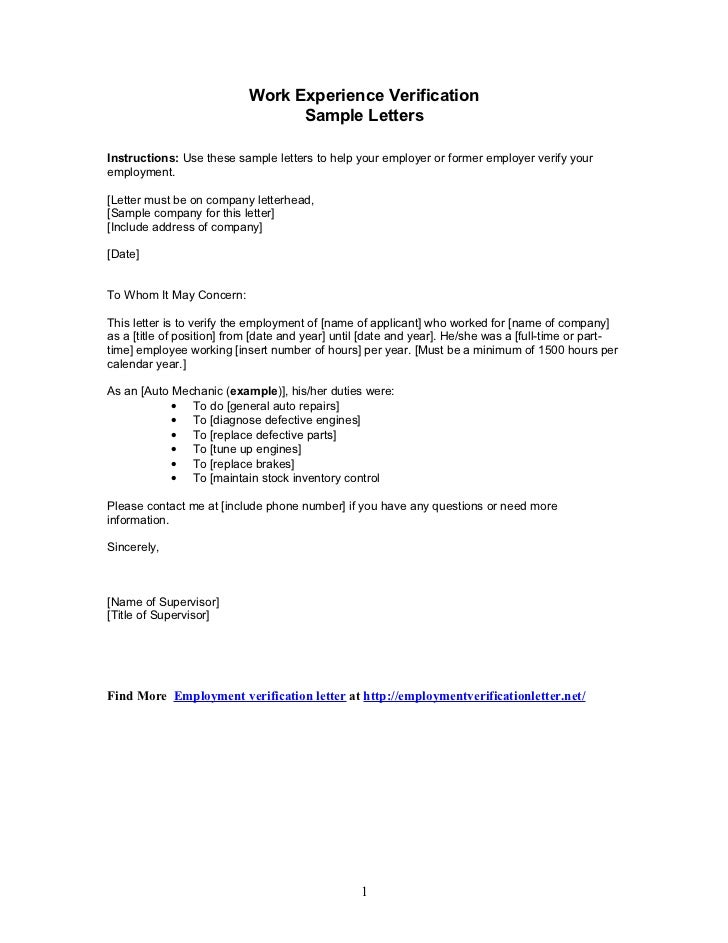 Sample Letters Work Experience Verification – Example Employment Verification Letter