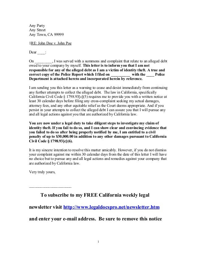 Sample Letter To California Creditor By Victim Of Identity