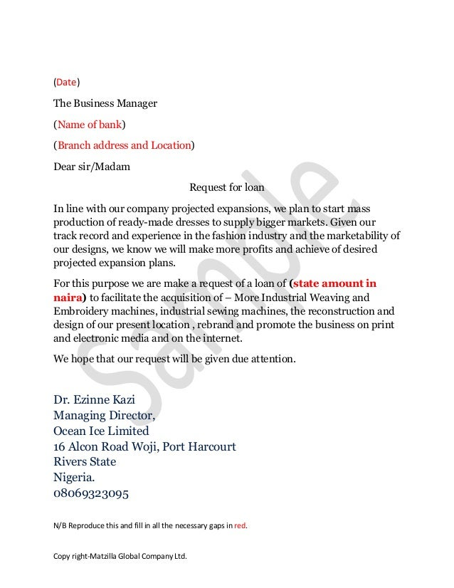 Sample loan application letter sample loan application letter date the business manager name of bank branch address and location altavistaventures Choice Image