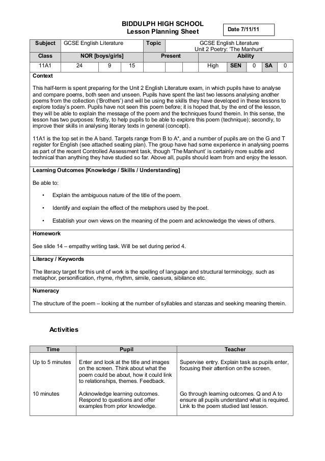 Sample lp 1 y11 poetry biddulph high school lesson planning sheet subject gcse english literature topic gcse english literature unit 2 ccuart Image collections