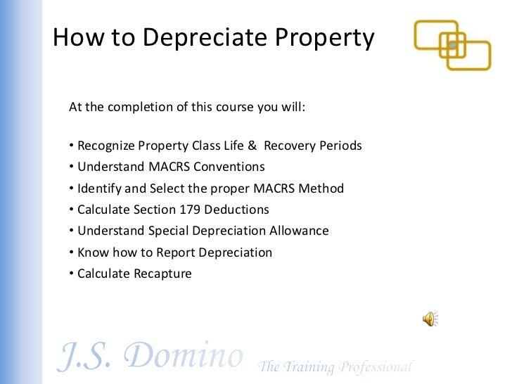 sample macrs depreciation