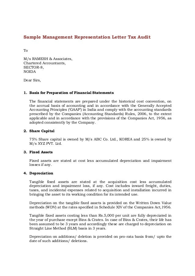 Great Sample Management Representation Letter Tax Audit To M/s RAMESH U0026  Associates, Chartered Accountants ...