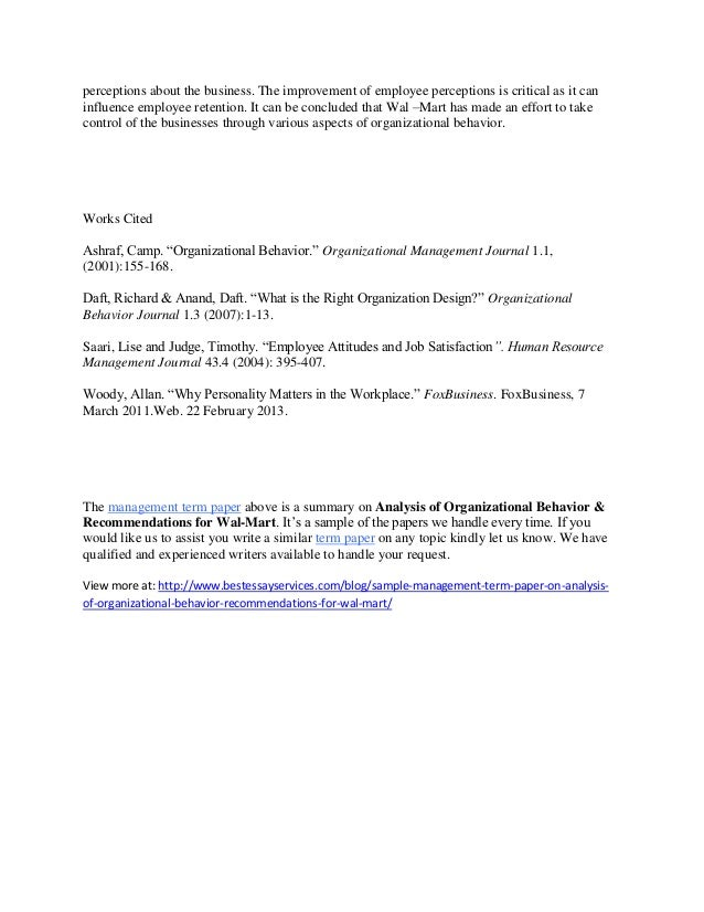 Sample Management Term Paper Summary on Analysis of Organizational Be…