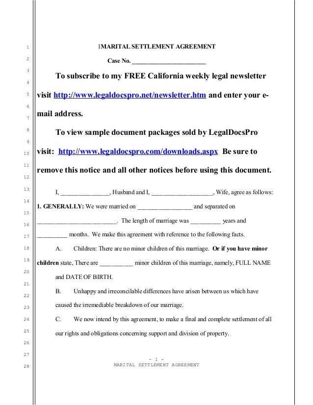 Sample California Marital Settlement Agreement