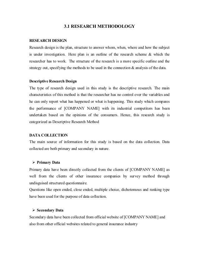 project methodology sample