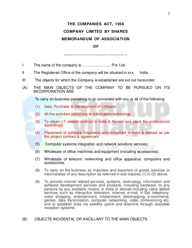 Sample Memorandum Of Association It Firm