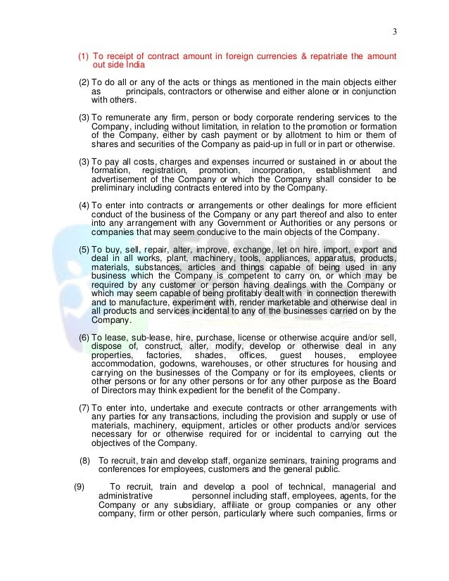Sample Memorandum Of Association (It Firm)