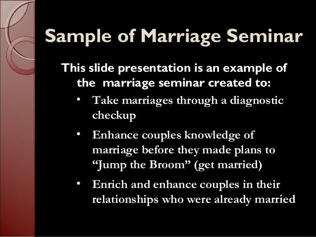 Sample Marraige Enrichment Seminar