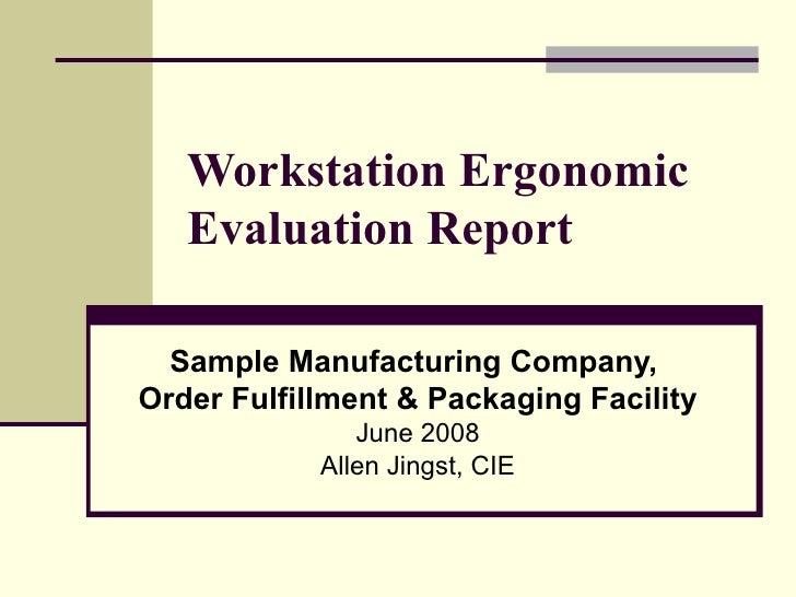 sample mfg company ergo eval summary