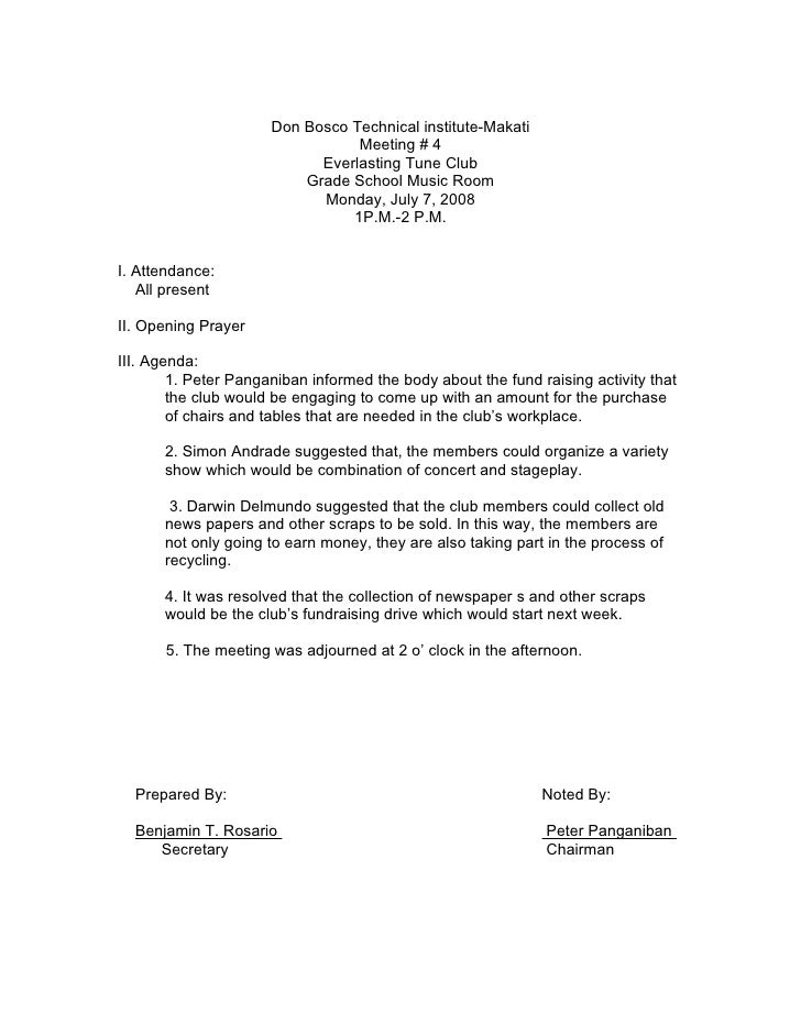 Sample minutes of the meeting for Sample cover letter for minutes of meeting