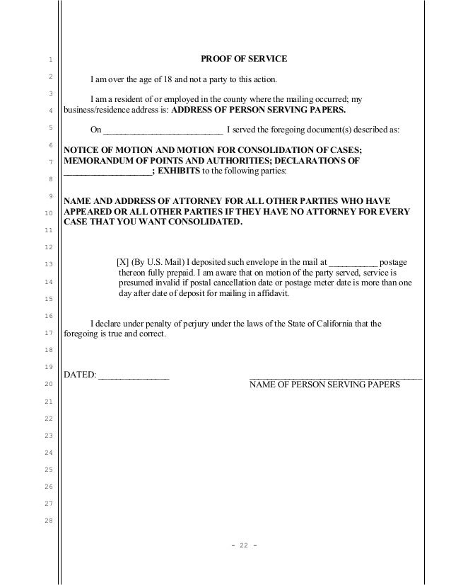 Sample motion for consolidation in unlawful detainer (eviction) in Ca…