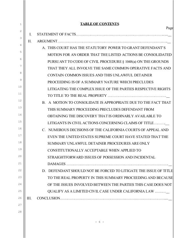 Sample Motion For Consolidation In Unlawful Detainer