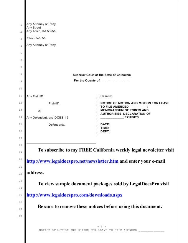 Sample California motion for leave to amend pleading