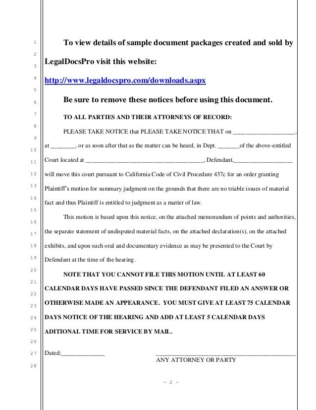 Sample California motion for summary judgment by plaintiff
