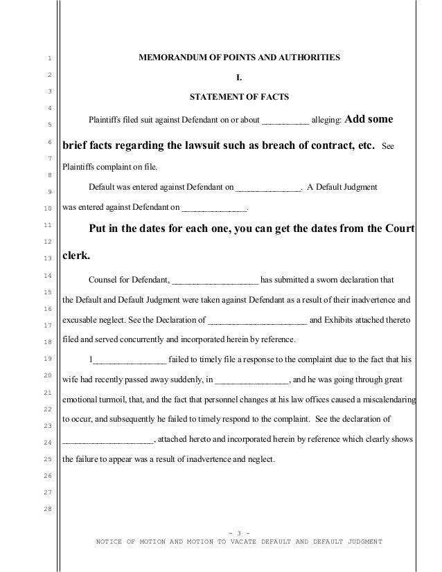 Sample California motion to vacate judgment with attorney affidavit o – Affidavit Statement of Facts