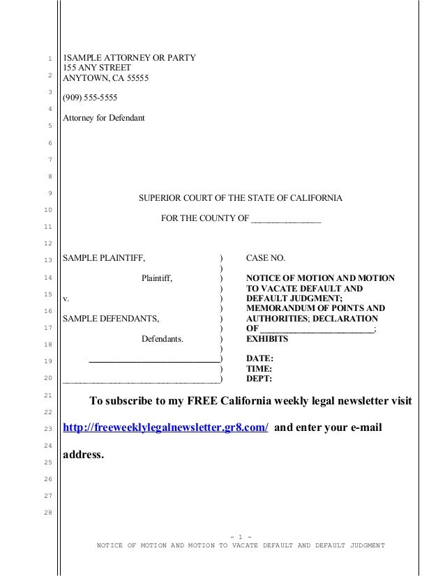 Sample California motion to vacate default judgment under Code of Civ…