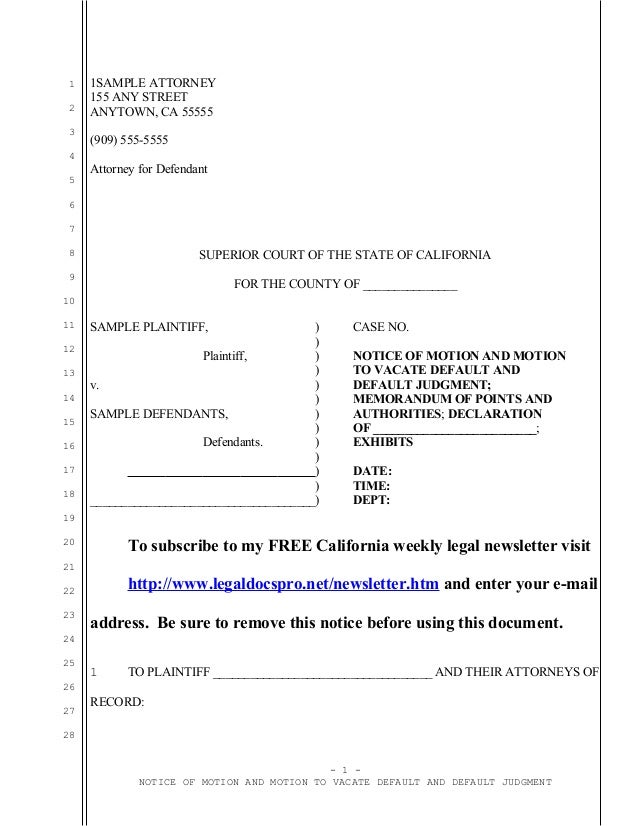 Sample California motion to vacate default judgment under ccp section…