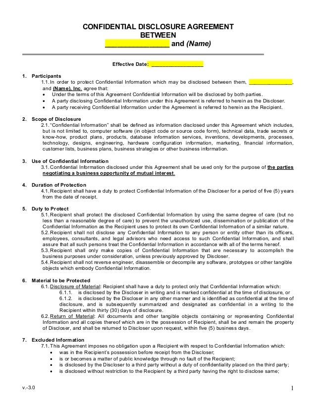 Sample Mutual Non Disclosure Agreement - One page nda template