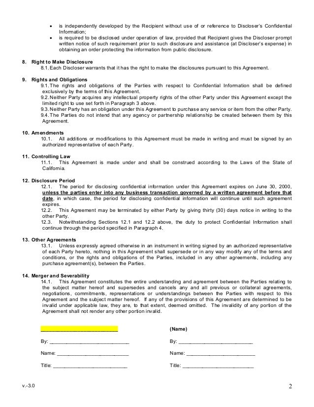 Sample Mutual Non Disclosure Agreement .  Confidentiality Agreement Free Template