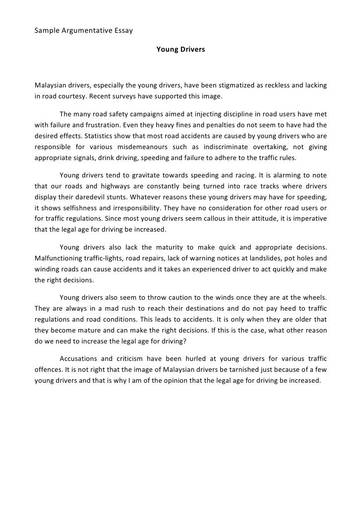 sample narrative essay 2 sample argumentative essay young drivers n drivers