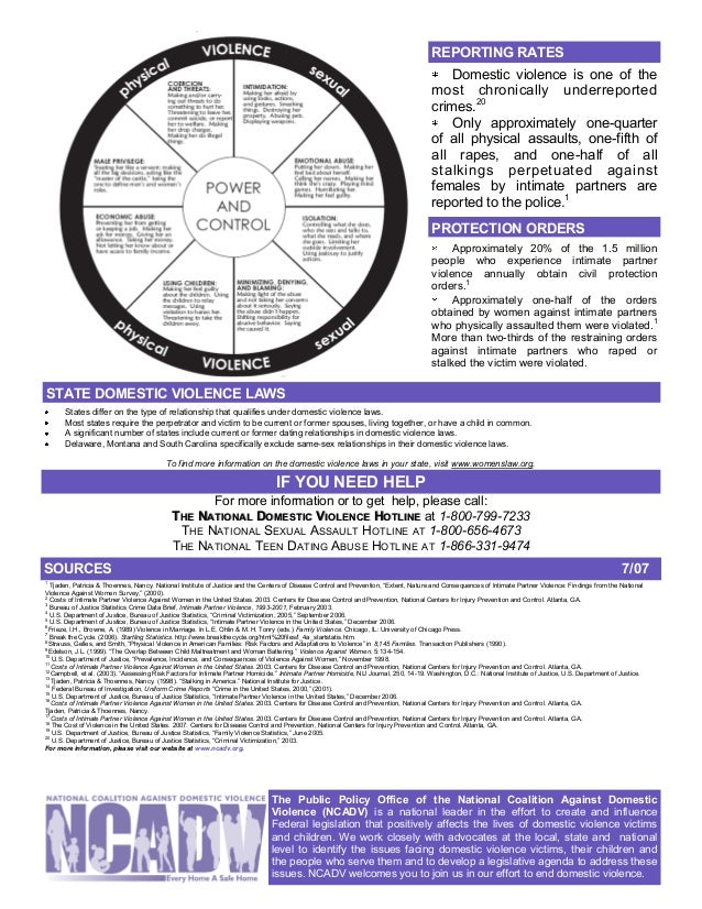 ncadv dating violence fact sheet State domestic violence laws from the ncadv fact sheet former dating relationships in domestic violence laws a few states specifically exclude same-sex ipv.