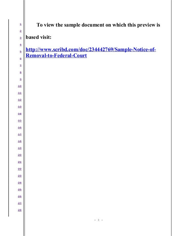 Sample notice of removal to United States District Court