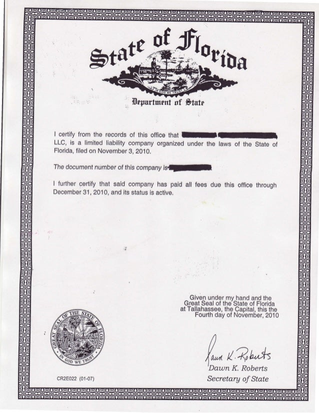 Sample Of Certificate Of Organization