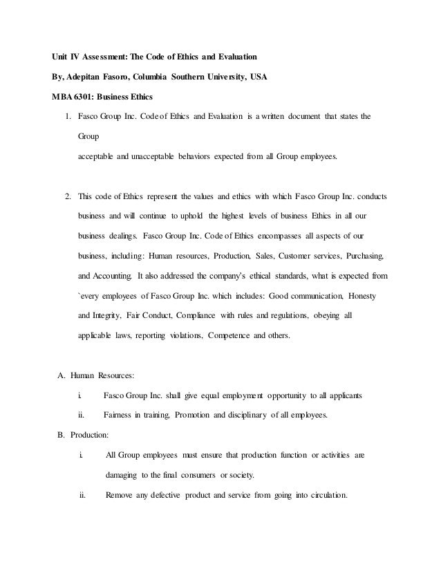 Sample Of Proposal Essay Unit Iv Assessment The Code Of Ethics And Evaluation By Adepitan Fasoro   Example Of An English Essay also Reflective Essay Thesis Sample Of Company Code Of Ethics And Evaluation Essay About Healthy Lifestyle