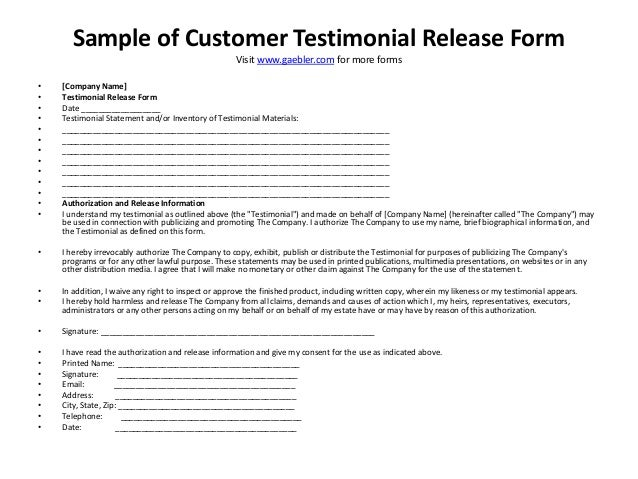Sample Of Customer Testimonial Release Form Visit Www.gaebler.com For More  Forms U2022  Customer Form Sample