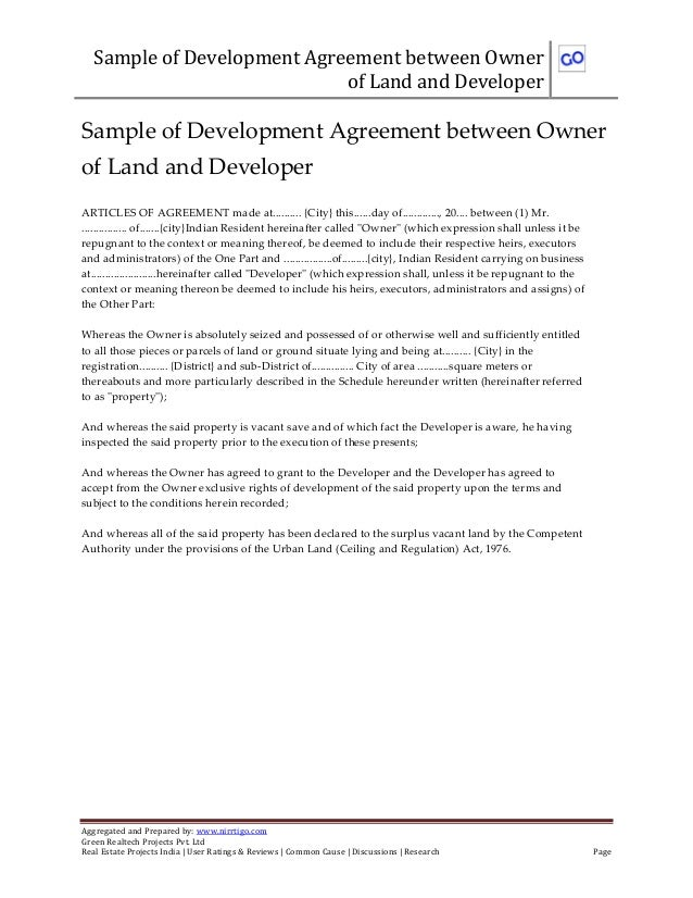 Sample Of Development Agreement Between Owner Of Land And Developer  Aggregated And Prepared By: Www ...  Joint Venture Agreement Doc