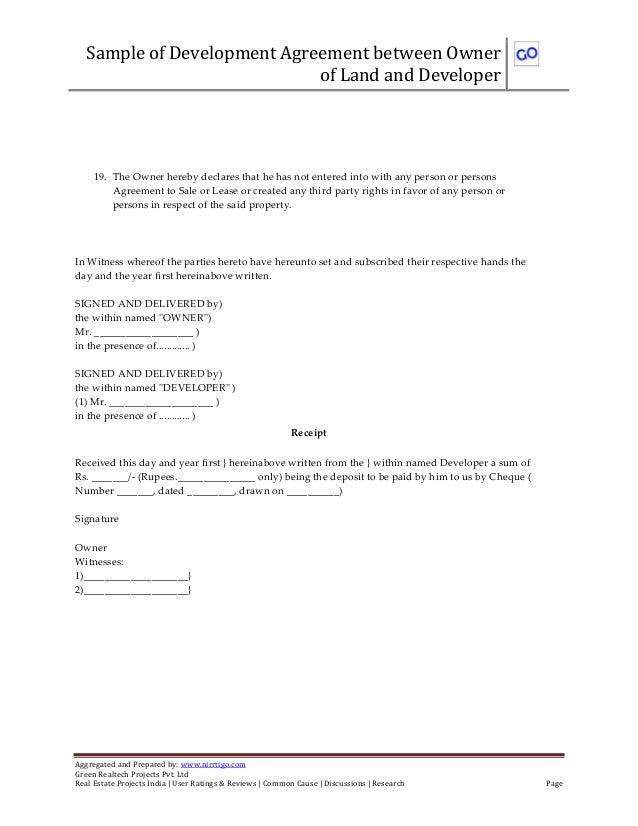 Sample of development joint venture agreement between owner of land a – Land Lease Agreement Form Free
