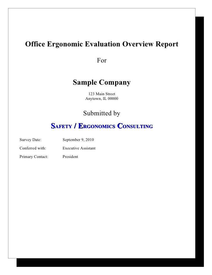 Sample Office Ergonomic Evaluation