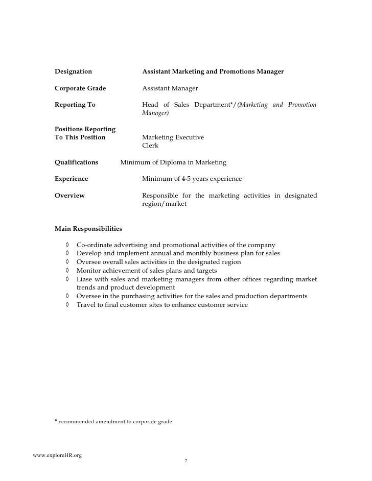 Sample of job descriptions a