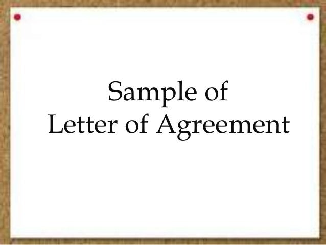 Sample Of Letter Of Agreement