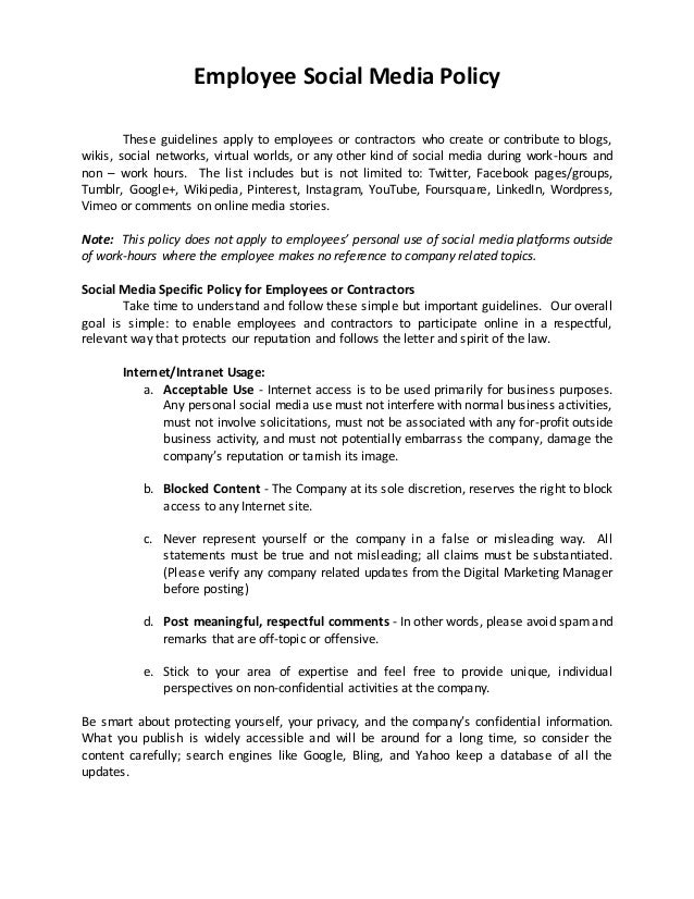 Sample of social media policy hr for Employee guidelines template