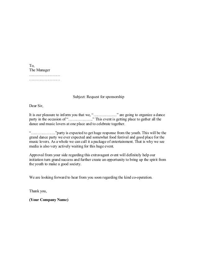 sponsorship letter template sample of sponsorship letter 24945 | proposal sample of sponsorship letter 1 638