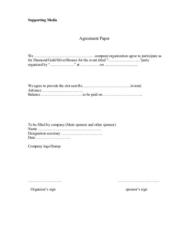 Sponsorship Agreement  Supporting Media Agreement Proposal