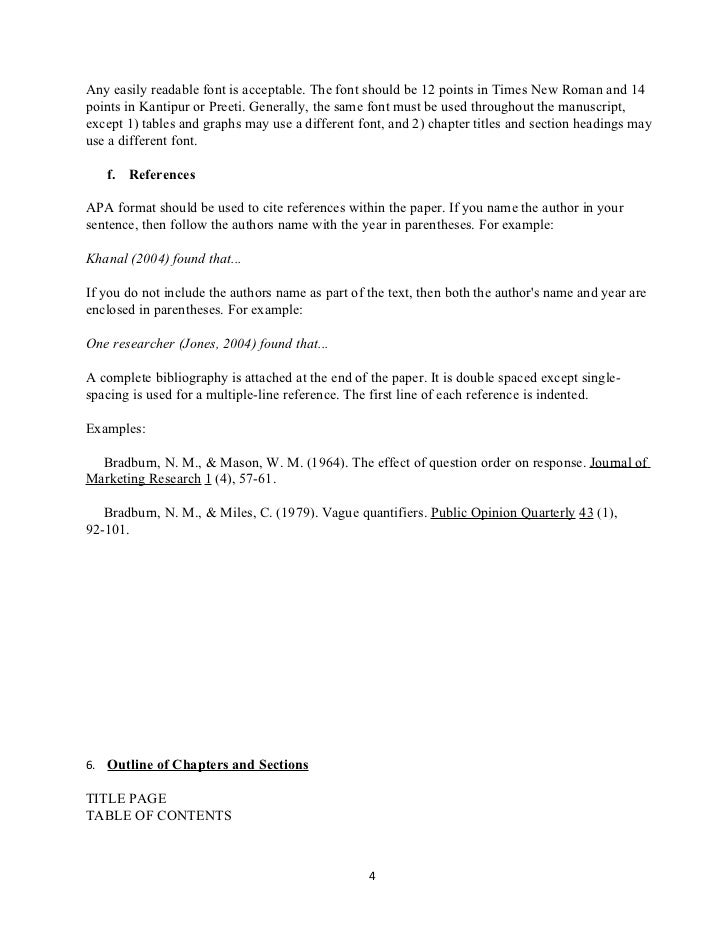 apa format for outlines