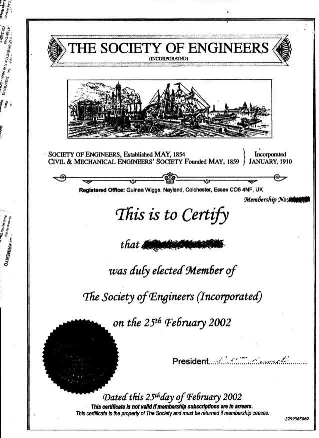 Sample Of The Society Of Engineers  Membership Certificate