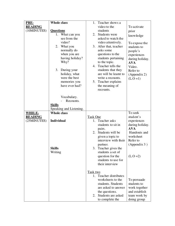 Sample Of Writing Lesson Plan